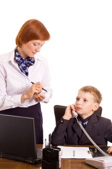 Businessboy And His Secretary. Royalty Free Stock Image