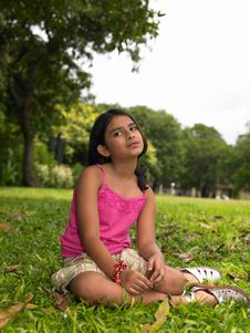 Free Asian Girl Sitting Under A Tree Stock Image - 6347231