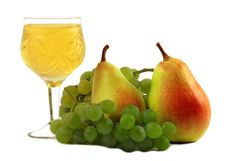 Free Fruit And Glass With Wine On A White Background Royalty Free Stock Images - 6348359