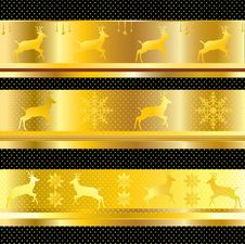 CHRISTMAS BORDER VECTOR GOLD Stock Photos