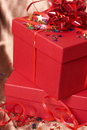 Free Red Gift Boxes With Bows And Stars Royalty Free Stock Photo - 6351045
