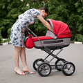 Free Woman With Baby Carriage Stock Images - 6351514