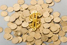 Free Coins With Dollar Sign Royalty Free Stock Photography - 6350337