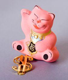 Free Maneki Neko With Dollar Sign Royalty Free Stock Image - 6350346