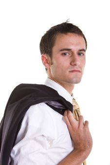 Young Man Serious Jacket On Shoulder Royalty Free Stock Image
