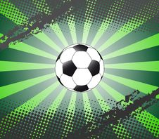 Background With Football And Sunburst And Halftone Royalty Free Stock Photography