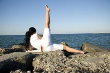 Free Back Of Woman Doing Sport At Sea Stock Photos - 6351443