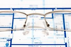 Blueprint For A House And Eyeglasses Royalty Free Stock Photography