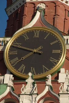 Free Clock On The Tower. Kremlin In Moscow, Russia Royalty Free Stock Images - 6351689