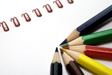 Free Color Pencils And Notebook Stock Photos - 6351923