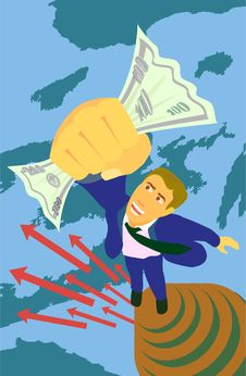 Free Man Jumps To Money Stock Photography - 6352602