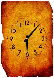 Vintage Clock Grunge Background Stock Photography