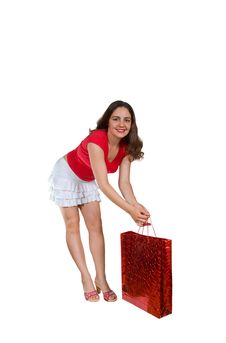 Free Pretty Girl In Mini Skirt With Shopping Bag Royalty Free Stock Photos - 6354628