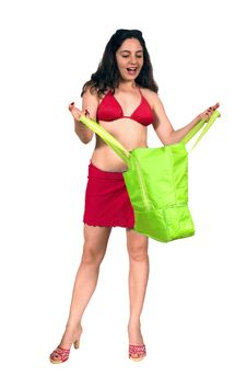 Free Pretty Girl In Swim Suit With Shopping Bag Stock Image - 6354691