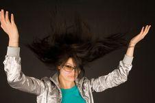 Beautiful Girl Shaking Her Hair Stock Photo
