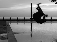 Man Silhouette Somersault Pool One Royalty Free Stock Image