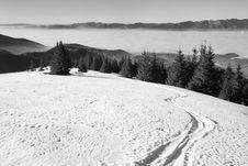 Ski Track In Winter Mountain Land Royalty Free Stock Photos