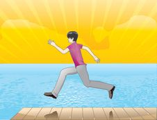 Free Running The Edge Of The Beach Stock Image - 6358441