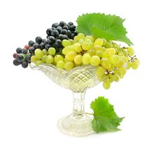 Free Cluster Green And Blue Grape Isolated On White Stock Photography - 6358602