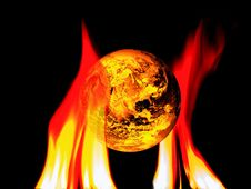 Free Earth Globe Fire Stock Image - 6359731