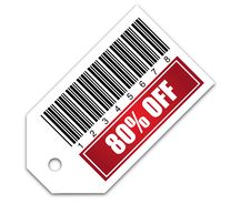 Barcode With Sale 80 OFF Sticker Stock Photo