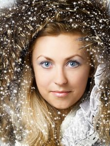 Free Beautiful Blonde Girl In Fur Hood Royalty Free Stock Photography - 6360817
