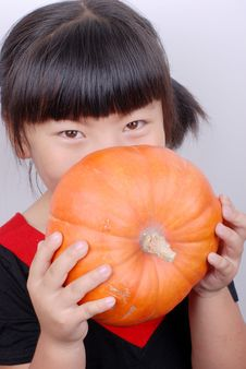 Free Girl And Pumpkin Stock Photography - 6361632