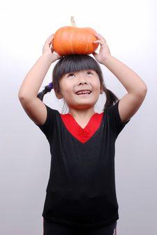 Free Girl And Pumpkin Royalty Free Stock Photos - 6361678