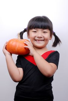 Free Girl And Pumpkin Royalty Free Stock Photo - 6361715