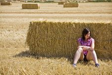 Free Young Woman In Haystack Stock Image - 6362841