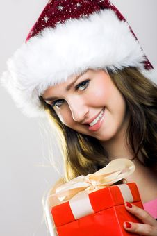 Christmas Portrait Of A Woman Stock Photography