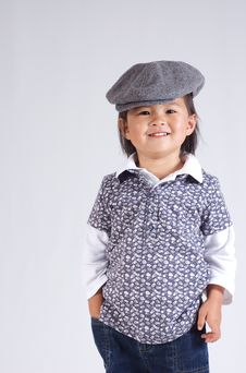 Free Little Asian Girl With A Hat Stock Photos - 6363043