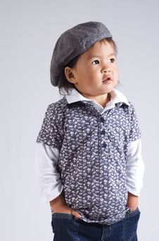 Free Little Asian Girl With A Hat Stock Photography - 6366692