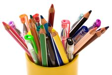 Free Color Pencils And Pens Stock Photography - 6367102