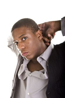 Free Young Black Man Hands Behind Head Stock Photo - 6368180