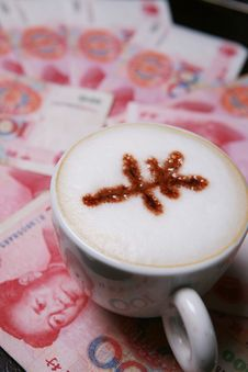 Cappucino With RMB Sign Royalty Free Stock Photo