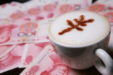 Cappucino With RMB Sign Stock Image
