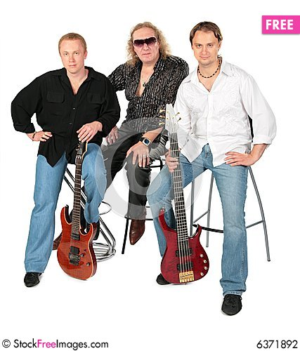 Free Three Sitting Men With Two Guitars. Music Group. Stock Photography - 6371892