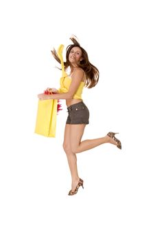 Free Happy Girl And Her Bag Royalty Free Stock Photos - 6370338