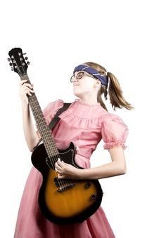 Free Young Girl With A Rock Guitar Stock Images - 6370814