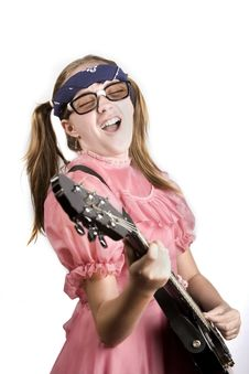 Free Young Girl With A Rock Guitar Royalty Free Stock Photography - 6370837