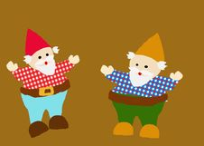 2 Gnomes On Gold Royalty Free Stock Photo