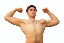Young Athlete With Hands Up Stock Photo