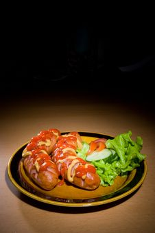 Free Sausages On A Plate Stock Images - 6371094