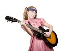 Free Young Girl With A Rock Guitar Stock Image - 6371251