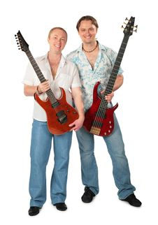 Two Young Men With Guitars Stock Photos