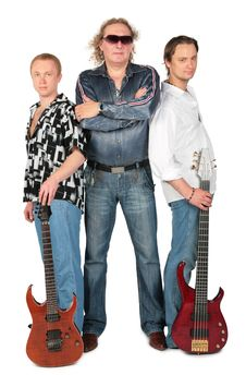 Free Three Men With Two Guitars. Music Group Royalty Free Stock Image - 6371526