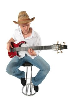 Young Guitarist In Hat. Full Body. Royalty Free Stock Photo