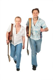 Two Running Men With Guitars Stock Images