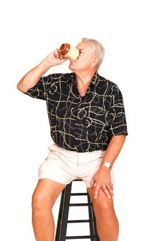 Free Senior On A Bar Chair. Royalty Free Stock Photo - 6372175